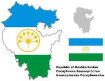 Outline map of Bashkortostan with flag Stock Photos