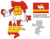 Outline map of Chelyabinsk Oblast with flag Stock Photo