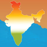 Outline map of india in tri colors Stock Photos