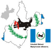 Outline map of Irkutsk Oblast with flag. Regions of Russia. Vector illustration vector illustration