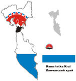 Outline map of Kamchatka krai with flag. Regions of Russia. Vector illustration Royalty Free Stock Image