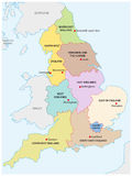 Outline map of the nine regions of England Royalty Free Stock Images