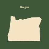 Outline map of  Oregon.  illustration. Stock Image