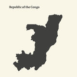 Outline map of Republic of the Congo.  illustration. Royalty Free Stock Image