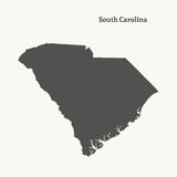 Outline map of South Carolina.  illustration. Stock Image