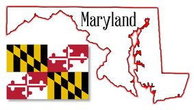 Maryland State Map and Flag Stock Images