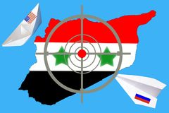 Outline map of Syria with flag and target symbol. vector illustration