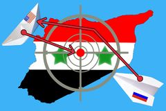 Outline map of Syria with flag and target symbol. Syria war between Russia and Russia Stock Image