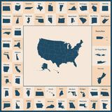 Outline map of the United States of America. 50 States of the US royalty free illustration