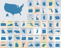 Outline map of the United States of America. States of the USA. Vector illustration royalty free illustration