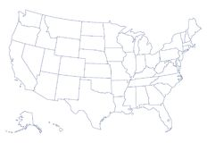 United States of America map. Outline map of USA with states, on white background royalty free illustration