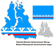 Outline map of Yamalo-Nenets Autonomous Okrug with flag. Regions of Russia. Vector illustration Stock Photo