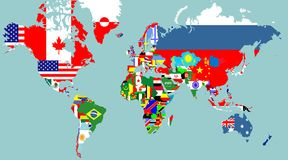 Outline maps of the world Stock Image
