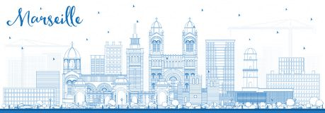 Outline Marseille France City Skyline with Blue Buildings. Vector Illustration. Business Travel and Tourism Concept with Historic Architecture. Marseille Royalty Free Stock Photo