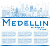 Outline Medellin Skyline with Blue Buildings and Copy Space. Royalty Free Stock Photo