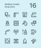 Outline Medical, health, drug icons for web and mobile design pack 3. 16 outline flat vector icons vector illustration