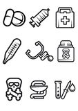 Outline medical icons set. Outline vector medical icons in black and white with tablets, syringe, first aid kit, thermometer, stethoscope, poison, caduceus and Royalty Free Stock Image
