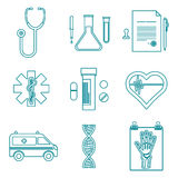 Outline medical icons set. Vector various dark blue color outline medical icons on white background Royalty Free Stock Images