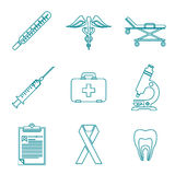 Outline medical icons set Stock Images