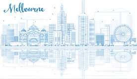 Outline Melbourne Skyline with Blue Buildings and Reflections. Royalty Free Stock Photos