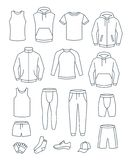 Outline men casual clothes for fitness training. Basic garments for gym workout. Vector thin line icons. Outfit for active man. stock images