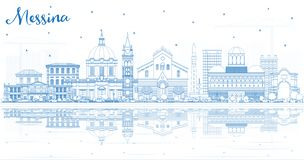Outline Messina Sicily Italy City Skyline with Blue Buildings and Reflections. Vector Illustration. Business Travel and Concept with Modern Architecture vector illustration