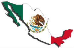 Outline of Mexico with the national flag Royalty Free Stock Image