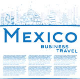 Outline Mexico skyline with blue landmarks and copy space. Royalty Free Stock Photos