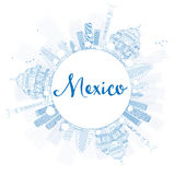 Outline Mexico skyline with blue landmarks and copy space. vector illustration