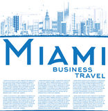 Outline Miami Skyline with Blue Buildings and Copy Space. Royalty Free Stock Image