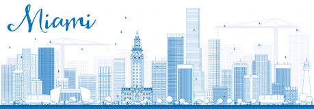 Outline Miami Skyline with Blue Buildings. Vector Illustration. Business Travel and Tourism Concept with Modern Buildings. Image for Presentation Banner Stock Image