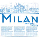 Outline Milan Skyline with Blue Landmarks and Copy Space. Stock Image