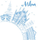 Outline Milan Skyline with Blue Landmarks and Copy Space. Vector Illustration. Business Travel and Tourism Concept with Historic Buildings Royalty Free Stock Images