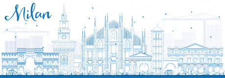 Outline Milan Skyline with Blue Landmarks. Royalty Free Stock Image