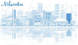 Outline Milwaukee Skyline with Blue Buildings and Reflections. Royalty Free Stock Photography