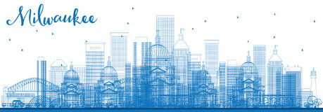 Outline Milwaukee Skyline with Blue Buildings. Royalty Free Stock Photography
