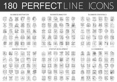 180 outline mini concept icons symbols of business motivation, business analysis, business essentials, business project. Startup development, e commerce icon Royalty Free Stock Photos