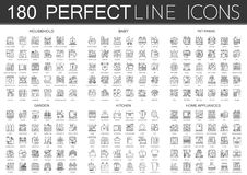 180 outline mini concept icons symbols of household, baby, pet friend, garden, kitchen, home appliances icon. Stock Images