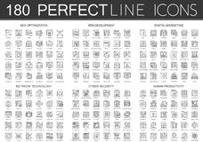 180 outline mini concept icons symbols of seo optimization, web development, digital marketing, network technology. Cyber security, human productivity icon Stock Image