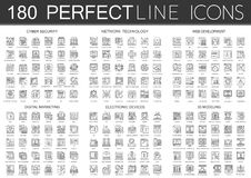 180 outline mini concept infographic symbol icons of cyber security, network technology, web development, digital. Marketing, electronic devices, 3d modeling royalty free illustration