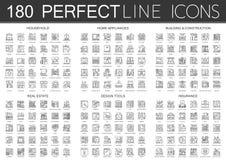 180 outline mini concept infographic symbol icons of household. 180 outline mini concept infographic symbol icons of household, home appliances, building Royalty Free Stock Photos