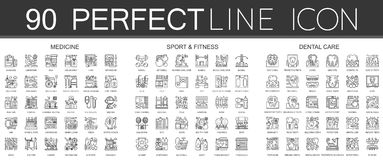 90 outline mini concept infographic symbol icons of medicine, sport and fitness, dental care. 90 outline mini concept infographic symbol icons of medicine Royalty Free Stock Image