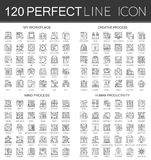 120 outline mini concept infographic symbol icons of my workplace, creative process, mind process, human productivity. Stock Photography