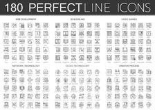 180 outline mini concept infographic symbol icons of web development, 3d modeling, video games, network technology. Cloud technology, creative process isolated Royalty Free Stock Images
