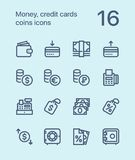 Outline Money, credit cards, coins icons for web and mobile design pack 2. 16 outline flat vector icons Stock Photos
