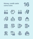 Outline Money, credit cards, coins icons for web and mobile design pack 3. 16 outline flat vector icons Stock Image