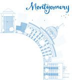 Outline Montgomery Skyline with Blue Building and copy space Royalty Free Stock Image
