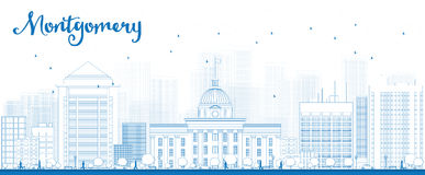 Outline Montgomery Skyline with Blue Buildings Stock Image