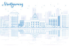 Outline Montgomery skyline with blue buildings and reflections. Stock Photos