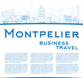 Outline Montpelier skyline with blue buildings and copy space Stock Images